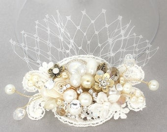 Ivory & Gold Bridal Comb-Birdcage Bridal Hair Comb- Bridal Hair Accessories- Ivory Wedding Hair Accessories- Bridal Hairpiece-Brass Boheme