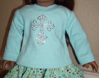 18 inch doll clothes- Aqua Ruffle Skirt with Aqua Knit Top