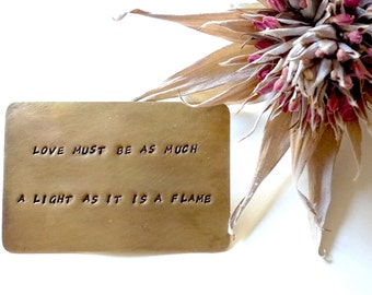 Brass Wallet Card, Hand Stamped Personalized Quote, Wedding Vows, Bereavement Keepsake, Unique Love Note, Gift for Him, Gift for Her