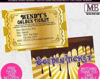 Chocolate Factory Invitations, Golden Ticket Invitations