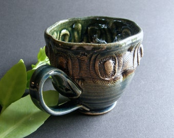 Floral Tea & Coffee Cup with Handle in Speckled Stoneware with Texture