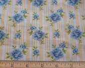 cottage chic yellow striped and blue rose nos fabric remnant