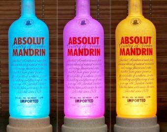 Absolut Vodka Mandrin Color Changing LED Bottle Lamp Remote Control Bar Light Bodacious Bottles