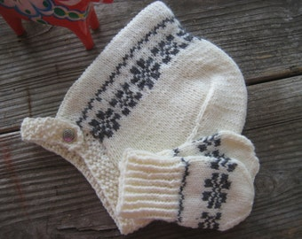 Baby Bonnet and Mittens in Scandinavian Design ELVI
