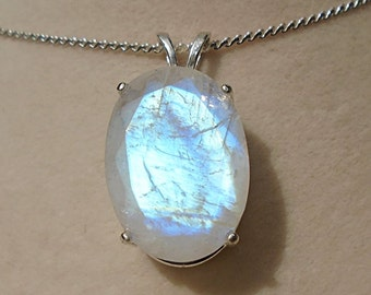 Rainbow Moonstone Sterling Silver Pendant WAS 90.00 On SALE 80.00