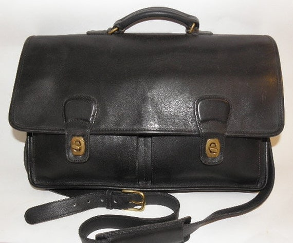 Vintage Black Glove Tanned Leather Coach Organizer Briefcase