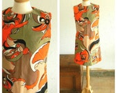 60's PUCCI INSPIRED DRESS - Shift Dress / Pattern / Abstract / Orange / Black / Classic