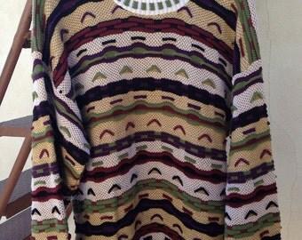 SALE Vintage 3D Protege Sweater by Tag acrylic stripes green brown cream sz men M wm XL