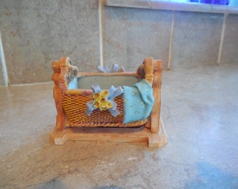 Cute tiny wood baby crib  girls fun or new baby keep sake for bracelet or jewelry holder.
