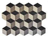 Grey felt placemats, geometric, cubes, stylish placemats, wool felt, handmade, made in Italy