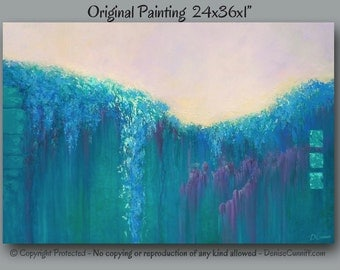 Large Abstract Painting Turquoise Wall Art Canvas Artwork Teal Home Decor Office