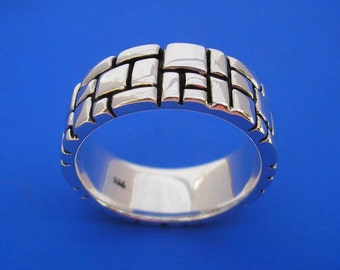 Silver Mondrian Tetris Ring , Hand Made Solid Silver