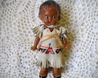 Vintage Knickerbocker Doll, Plastic Side Glancing Native American Doll, Indian doll, Collectible Rattle doll