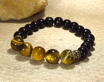 Tiger Eye Stretch Bracelet - Deflect Negative Energy - Support Clear Thinking - Lower Chakras - Reiki Inspired Jewelry
