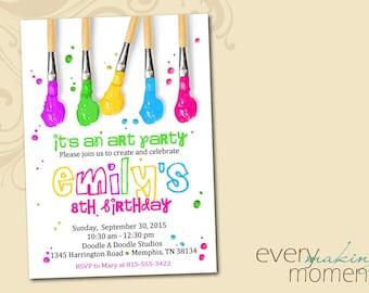 Art Party Birthday Invitation -- Painting Party Birthday Invitation -- Arts and Crafts Birthday Party-- Birthday invite