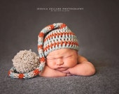 Crochet Baby Hat Wool Striped Elf Pixie Photo Prop Grey  Aqua and Cantloupe striped