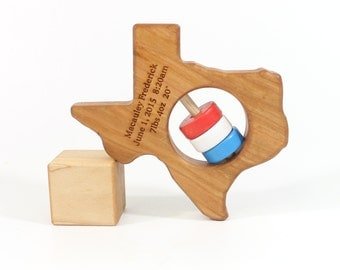 Texas Baby Rattle™ Baby Toy Baby Shower Gift Baby Gift Wooden Rattle Wooden Baby Rattle Wood Rattle New Baby Gift Newborn Gift Eco Friendly