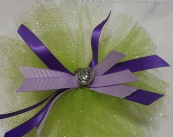 Lime Green and Purple Hair Bow