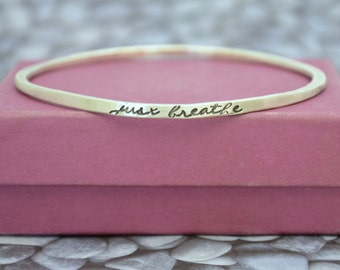 Personalized Oval or Round Sterling Silver Bangle with Quote, Mantra Bracelet, Stacking bangles, One Little Word