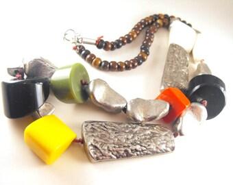 Vintage Modernist Necklace Pewter Baton Beads Colorful Hard Plastic Beads Asymmetric Design Unique Look Style Trend Setter