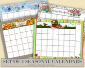 Set of 4- Blank Resuable Monthly Calendar (Seasonal) 16x20