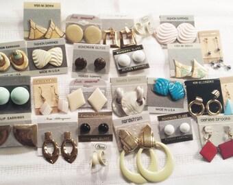 Vintage 1970s New Stock Pierced Earrings Costume Jewelry