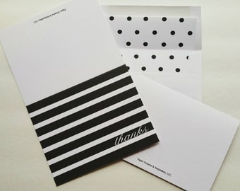 Note Card Set, Note Card Set with Stripes and Polka Dots, Thank You Note Cards Black and White