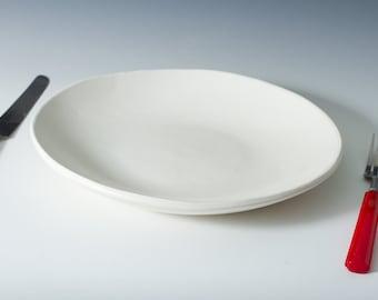 "15% off 9"" Satin White Plate, Ceramic, Pottery Handmade Stoneware - Sold Individually - white handmade plate - ready to ship 9.5"" , 10"""