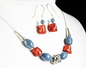 Blue & Orange Sponge Coral Necklace, Sterling Silver, fine original statement necklace, modern, elegant, gemstone, gift for her, NL2934