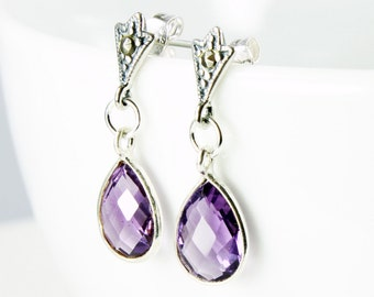Amethyst earrings with Sterling Silver marcasite studs, purple gemstone earrings, fine earrings, dangle earrings, gift for her, ER2210