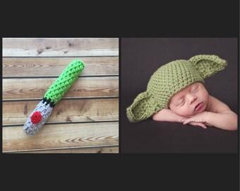 Green  Light Saber And Yoda hat , Star Wars Yoda hat crochet