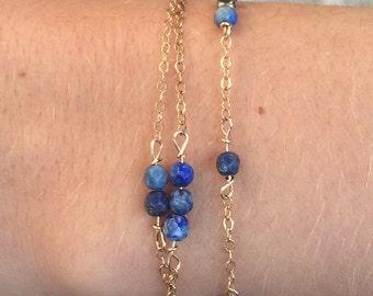 Gold, Lapis, Blue, Beaded, Delicate, Bracelet