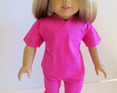 American Girl Doll Clothes, Doll Nurse Outfit, Doll 2 Piece Scrubs Outfit, American Girl Doll Scrubs, Hot Pink Nurse Outfit