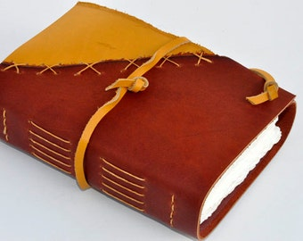 "Handmade Leather Journal 5 1/2"" x 7 1/2"" - 140 lb watercolor paper - Sketchbook"