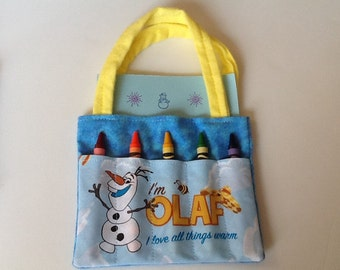 Frozen Olaf Children's Crayon Bag and Customized Paper, Birthday Party Favor