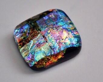 Dichroic Glass Cabochon - Brilliant Glistening Colors - Jewelry Supply