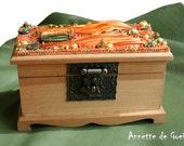 Orange box, bead embroidered box, wooden box