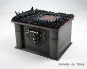 Pentagram box - black box - gothic box - bead embroidered box