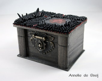 Pentagram box - black box - gothic box - bead embroidered box