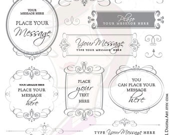 Gray Flourish Swirl Border Frame Grey VECTOR Graphics Elegant Wedding Clipart Page Decoration Text Divider Commercial Personal Use 10243