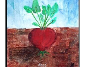 "8X8 Mixed Media ""Garden"" Series | Beet Print"