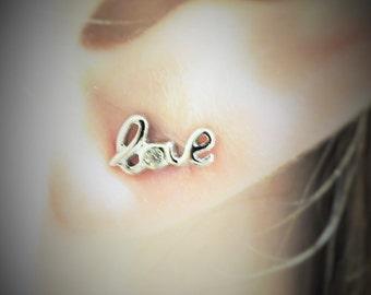 Tiny Cursive Sterling Silver Love Stud Earrings, Cursive Earrings, Silver Earrings, Love Message Stud Earrings, Love, Studs, Earrings,