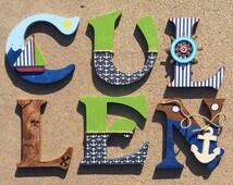 Nautical Wooden Letters, Nautical Nursery Decor, Nautical Letters, Letters for a Nautical Themed Bedroom, Nautical Initials
