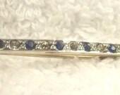 RESERVED for KK PATTON -  Antique Bar Brooch - Saphire Rhinestone Pin - Victorian Jewelry - Rhinestone Jewelry