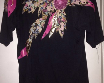 Black top with embeliahed  sweatheart neckline