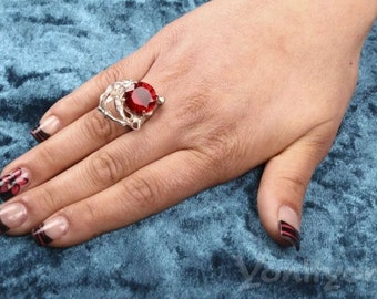 Red Zircon Ring, 925 Sterling Silver Ring, ALADDIN'S CAVE, Size 5.5, Unique Jewelry