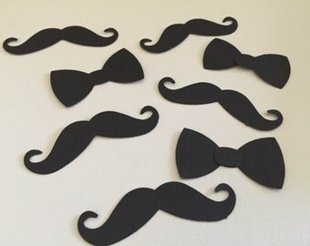 50 Mustache and bow tie paper punch confetti