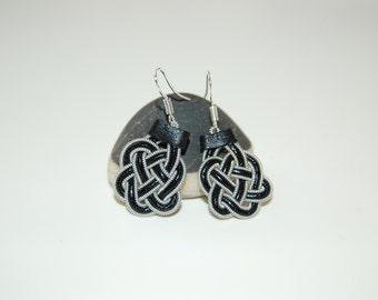 Sami Earrings celticknot inspired Lapland Reindeer Leather Pewter-Silver Earrings