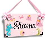 Girl pink ocean door signs sea creatures - baby seahorse - nursery decor personalized name - P2074