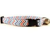 Cat Collar, CHEVRON BLUE RED, Small Dog Collar, Handmade